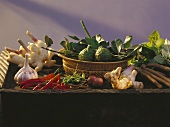 Assorted Roots and Vegetables; Basket