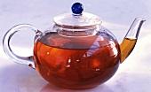 Black tea in glass pot