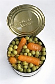 A opened tin of mixed vegetables (from above)
