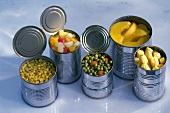 Several opened tins of vegetables and fruit