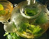 Peppermint tea in glass teapot