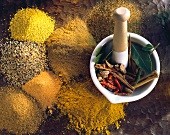 Spice Assortment with Mortar and Pestle