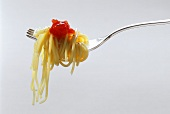 Spaghetti on a Fork with Tomato Sauce