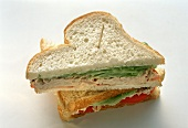Tuna Sandwich Cut in Half; Toothpick