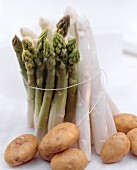 Green and White Asparagus Bundled; Potatoes