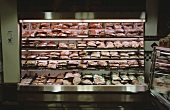 Meat and poultry shelf in a supermarket