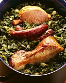 Kale with pork tripe, smoked pork rib & smoked belly pork