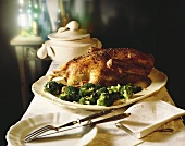 Roast duck with broccoli on serving platter