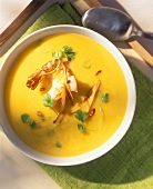 Chili and potato soup with shrimps