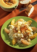 Sauerkraut salad with shrimps, oranges, grapefruit & melon