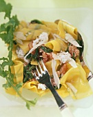 Herb ribbon noodles & tomatoes, rocket, cream cheese, parmesan