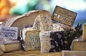 Verschiedene Käsesorten auf dem Markt, Frankreich
