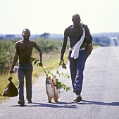 Two Cubans carrying fish on country road