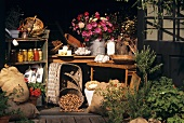 Country produce and preserves in summer house