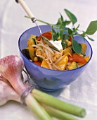 Vegetable ragout with soya bean sprouts in glass bowl