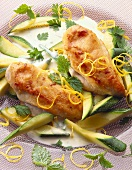 Chicken breast fillet with courgettes & lemon cream sauce