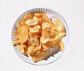 Many Potato Chips on a Paper Plate