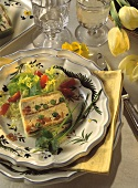 Vegetable terrine with pureed mushrooms & smoked salmon