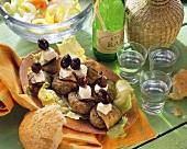 Greek mince and aubergine kebabs