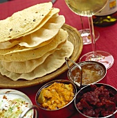 Indian chapattis, three dips & yoghurt & cucumber salad