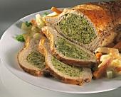 Roast pork with savoy & bread stuffing & vegetables