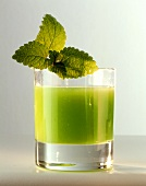 Lemon balm juice in glass, decorated with lemon balm leaves