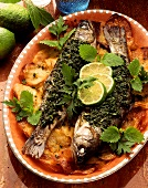 Trote al forno (oven-baked herbed trout on potatoes)