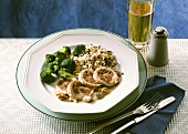 Turkey roulades with mushroom & ham stuffing, broccoli & rice