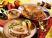 Turkey, sauerkraut & mushroom stuffing, vegetables & dumpling