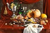 Stillleben im Stil eines alten Gemälde mit Obst, Wein etc.