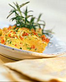Polenta with cheese and vegetable crust
