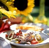Cuttlefish salad on plate