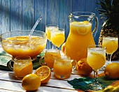 Two orange punches; Fruity summer fizz & Caribbean rum punch