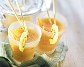 Exotic energy cocktail (fruit juice mix in two glasses)