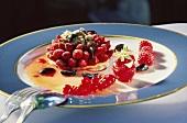 Dessert of wild strawberries, pistachios & sugared olives