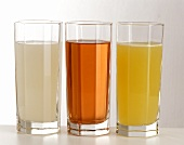 Sparkling orange juice & lemonade with raspberry & lemon syrup