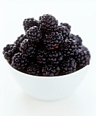 Blackberries in a small white bowl