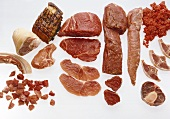 Various types of meat on white background