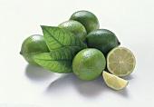 Fünf Limetten mit Blättern, Limettenhälfte und -schnitz
