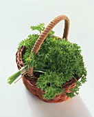 A bunch of curled parsley in small wicker basket