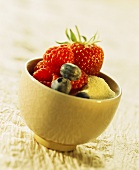 Mixed berries on semolina in bowl (dessert ingredients)