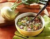 Barley soup with belly bacon and vegetables