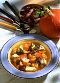 Pumpkin stew with chicken and dates