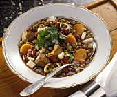 Lentil stew with kidney beans, carrots & meat