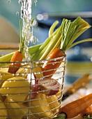 Frisches Gemüse im Metalldrahtkorb wird gewaschen