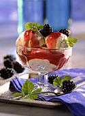 Scoops of Ice Cream with Raspberry Sauce