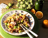 Lentil & Brussels sprout salad with oranges, onions, croutons