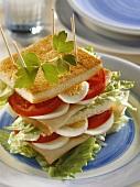 Egg Turkey and Tomato Club Sandwich