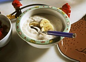 Breakfast cereal with bananas for children