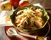 Cabbage salad with apples, carrots & liver dumplings